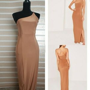 Like New Misguidded Tan One Shoulder Maxi Skin